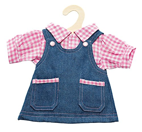 Heless 2051 jeansjurk met geruite blouse, maat 35 - 45 cm