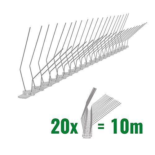 Pestsystems 10 Meter Taubenspikes Dachrinne 2-reihig auf Polycarbonat - hochwertige Lösung für Vogelabwehr Taubenabwehr Spikes