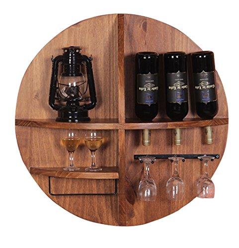 Porte-bouteilles mural à vin rond en bois à poser | LOFT Porte-étagère mural Porte-verre mural | Porte-bouteille à vin Cube | Conception de décoration murale American Vintage Industrial Style