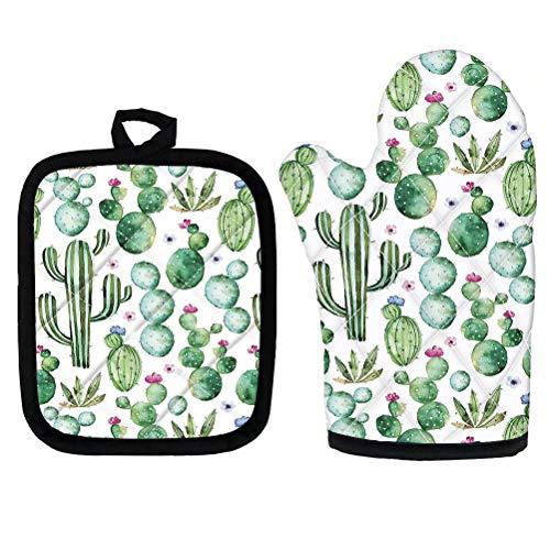 chaqlin - Juego de 2 almohadillas de cojín resistentes al calor para cocina y microondas, diseño de cactus