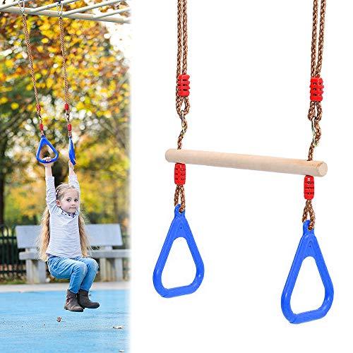 MEISHANG Columpio trapezoidal multifunción con anillas de plástico, madera para niños