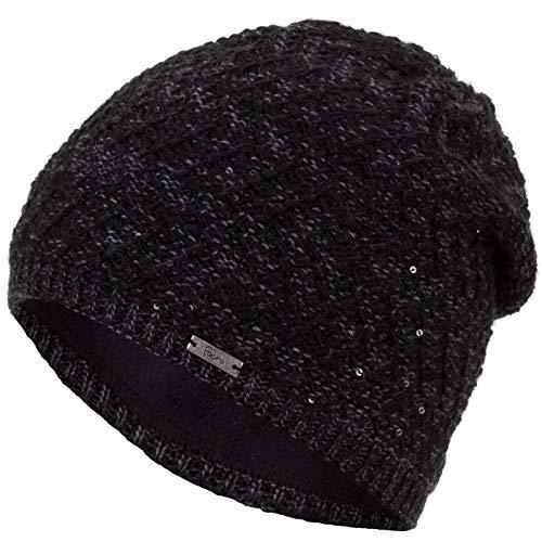 Faera Wintermütze warm gefütterte Winter-Mütze Fleece-Futter Winter Strick-Mütze Beanie-Mütze Damen Herren One-Size, Farbe:Schwarz