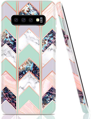 BAISRKE Case for Galaxy S10, Shiny Rose Gold Marble Wave Geometric Case Slim Soft TPU Rubber Bumper Silicone Protective Phone Case Cover for Samsung Galaxy S10 - Green