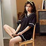 YPDM Summer Black Cotton 2pcs Pijamas Set Ropa de Dormir Mujeres Pijamas Traje Ropa de Dormir Camisa y Pantalones Cortos Casual Soft Pijamas Suit Plus Size, Black, XL