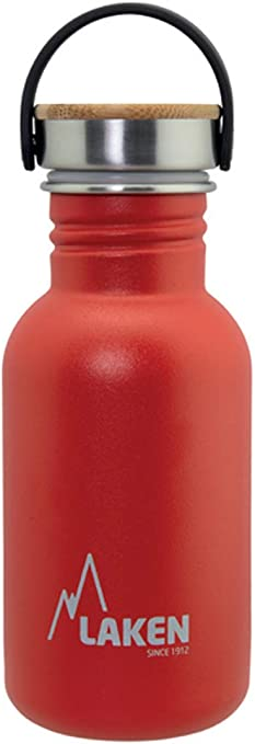 Laken sehr robuste Edelstahlflasche wei/ß mit Deckel Unisex-Botella de Acero Inoxidable Muy Resistente para Adultos