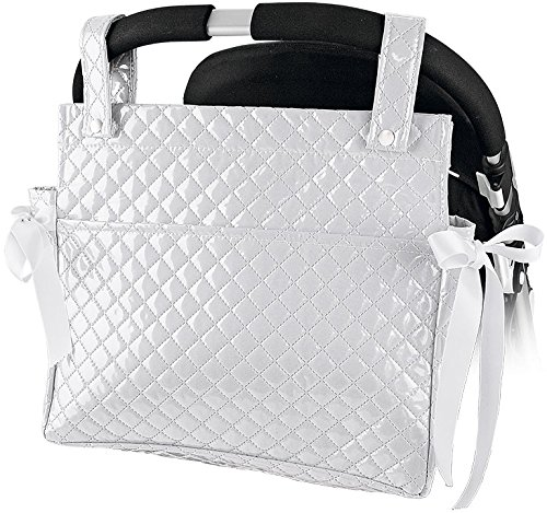 Bolso talega lactancia plastificada para sillita o carro de bebe color blanco