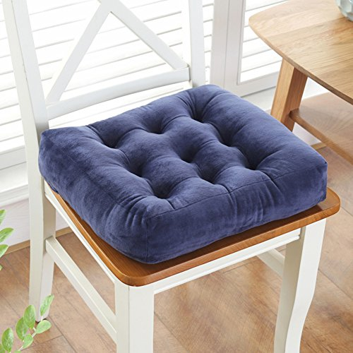 Square Plush Chair Pads, Solid Color Non Slip Seat Cushion Futon Pillow Super Soft Floor Mat Best Cushion for Home Office Car Seat-Navy Blue 40x40cm(16x16inch)