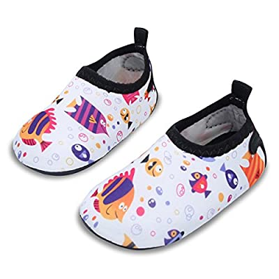 JIASUQI Baby Outdoor and Indoor Fashion Casual Water Skin Shoes Socks for Beach Sand Swim Surf,White/Fish 18-24 Months