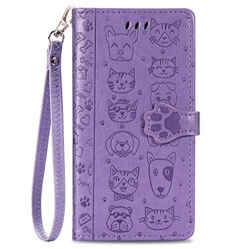 Blllue Funda tipo cartera compatible con Mi 9 SE, piel sintética, diseño de huella de perro, color...