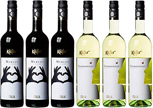Weinpaket 3xFeinkost Käfer Italien Merlot trocken rot + Feinkost Käfer Chardonnay weiß (x0,75L)