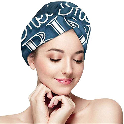 mahada Snel Droog Haar Wrap Handdoeken Turban, Inspirationele Typografie Met Droom Grote Inscriptie Raket En Achtergrond