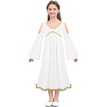 dPois Disfraz de Diosa Griega Atenea Niña Vestido Blanco de ...