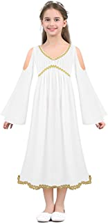Kids Girls Greek Nymph Roman Princess Costume Long Sleeves Toga Dress for Halloween Role Play