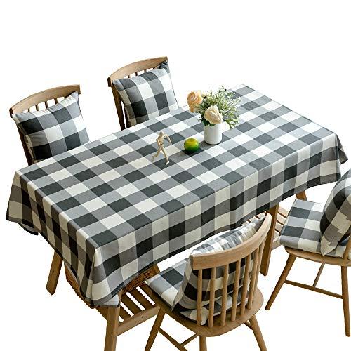 Stafeny - Mantel de algodón y lino a cuadros en blanco y negro para decoración de banquetes