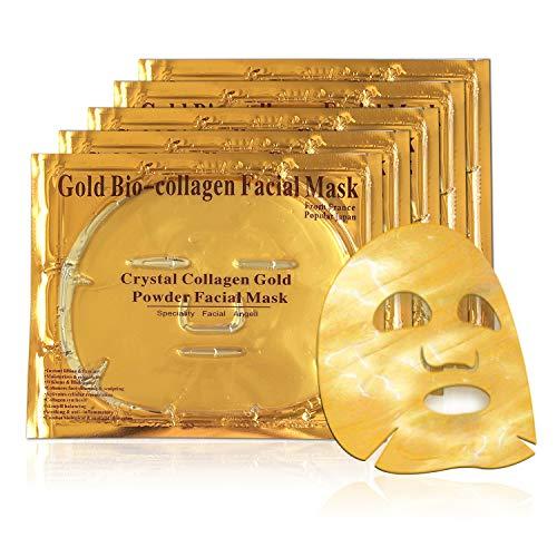 Masque Visage collagène Or [Lot de 5]– LeSB - Masque pour le visage anti-rides, anti-ridules, sérum acide hyaluronique hydratant. Contient 24K d'Or pour préserver votre jeunesse et hydrater votre peau