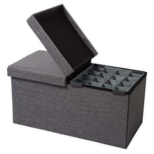 WOLTU Sitzhocker mit Stauraum Sitzbank Faltbar Truhen Aufbewahrungsbox, mit Aufbewahrungskorb, Deckel Abnehmbar, Gepolsterte Sitzfläche aus Leinen, 76x37,5x38 cm, Dunkelgrau, SH14dgr-1
