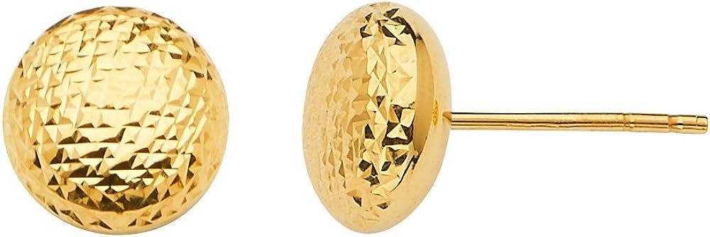 Sonia Jewels 14k Yellow Gold Earrings Diamond-Cut Flat Round Ball Push Back