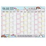 Wand-Kalender 2020 Einhorn Nö. Einfach nö I DIN A3 Quer-Format I Süßer Jahresplaner mit Feiertagen für Büro Küche - Mädchen Frauen WG Familie I dv_576