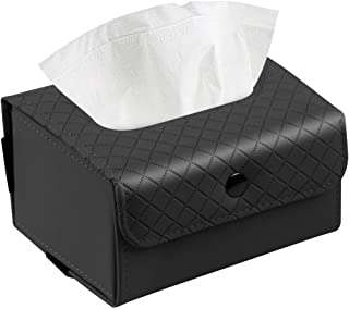 Trendypie Stylish PU Leather Foldable Rectangular Facial Tissue Box Cover Decorative Tissue Holder Napkin Holder Pumping Paper Case for Bathroom Bedroom Office Car Automotive