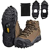Ice Snow Traction Cleats Crampons Anti-Slip Snow Shoes Cleats Walking on Snow and Ice Winter Walking Boots Cleats for Men Women Hiking, Jogging (28 Steel Crampons,Szie XL)