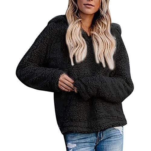 Forthery-Women Fuzzy Knitted Sweater Sherpa Fleece Side Slit Full Sleeve Jumper Outwears Pullover(Black,S)