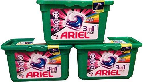 Ariel 3 in 1 Regelmatige Wassen Capsules Vloeibaar Tabs 12 Wastingen Geval van 3
