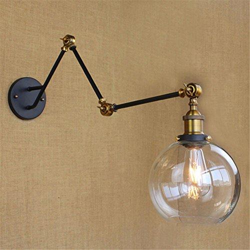 YU-K lamp voor slaapkamer, eenvoudig, vintage, wandlamp, creatief, living, eetkamer, slaapkamer, licht, allee, vintage, glas, muur schaduw drie armen, verstelbaar, restaurant, wandplaat, diameter 200 mm, lengte van de arm 250 mm x 2 + 210 mm