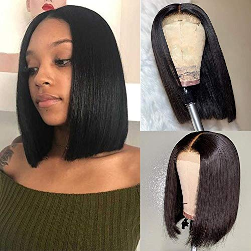 4x4 Human Hair Lace Front Wigs Straight Bob 12 Inch Lace Closure Bob Wigs Pre Plucked Middle Part Natural Color