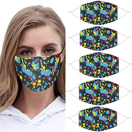 For Sale! Wenini 5Pcs Reusable_Fabric_Face_Mask Unisex Washable Covering - Cute Print Cloth Comfy Br...