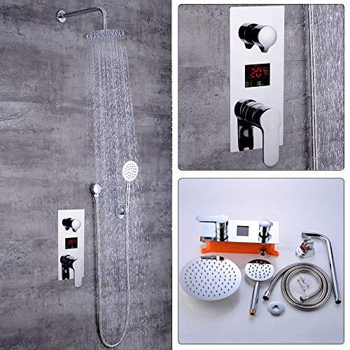 Sistema de ducha empotrado con pantalla LCD de temperatura, juego de ducha, grifo de lluvia, ducha de mano con ducha de mano y ducha para baño
