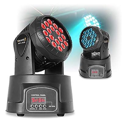 beamz Pair of Moving Head Stage Lights DJ Disco RGB LED Wash Effect Lighting 18x 3W