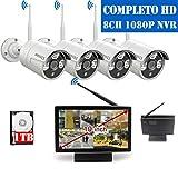 【2020 Nouveau】 Kit Caméra Vidéo Systeme Surveillance WiFi sans Fil Exterieur, Système de...