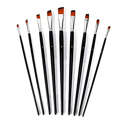 POCREATION 9pcs Flat Tipped Paint Brushes Set, Nylon Oblique Art Angular Paint Brush Artist Professional Painting Supplies for Oil Acrylics Oil Watercolor and Gouache Color Fine Art Painting