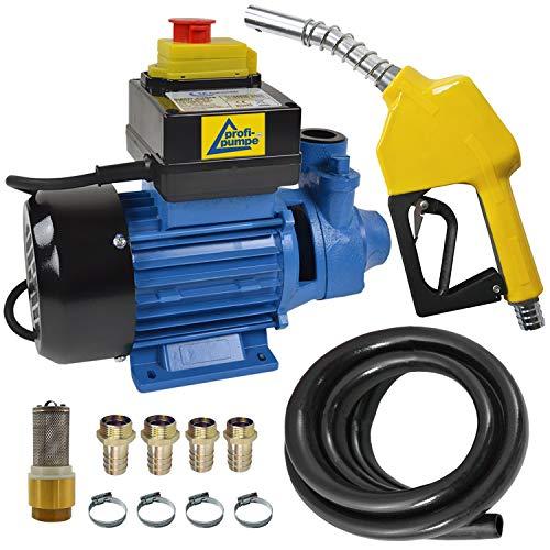 Dieselpumpe Ölpumpe Biodiesel Heizölpumpe Profi-600, 230V Elektro FASS-Pumpe mit Schlauch, Aluminium Zapfpistole und QUALITATIV-HOCHWERTIGEM Zubehör (Messing-RV), f. IHRE Private TANKSTELLE