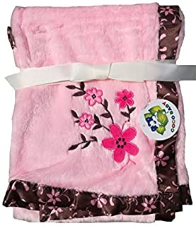 2 Ply Baby Girl PV Blanket with Brown Satin Trim, Floral Embroidery, 30