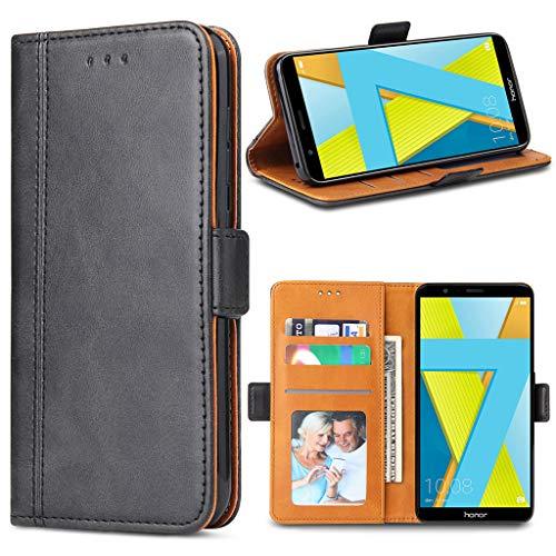 Bozon Handyhülle für Honor 7X, Lederhülle mit Kartenfächer, Schutzhülle mit Standfunktion, Klapphülle Tasche für Huawei Honor 7X (Schwarz)