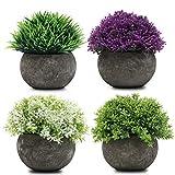 Mini Macetas Plantas Artificiales (Pack de 4) - (12 x 8,5cm) Multicolor Planta Contienen 2 Verdes, 1 Blanca y 1 Purpura Topiaria Arbustos para Interiores, Exteriores, Lavabo y Decoración del Hogar