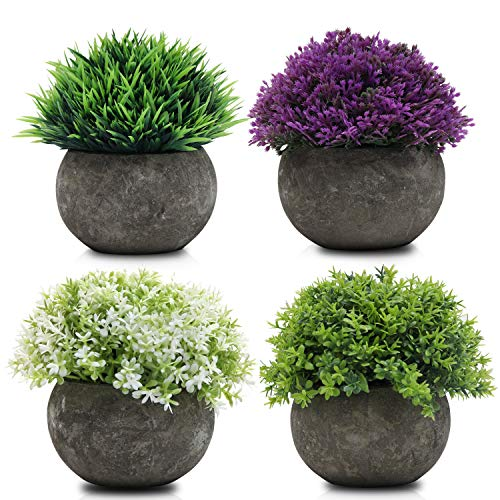 Mini Macetas Plantas Artificiales Multicolor Pack de 4 - Cada Planta A