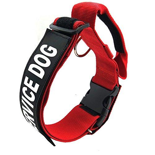 Dog Handle Collar Pet Jump Resistant Adjustable Necklet Service Dog Explosion-Proof Reflective Removable Nylon Chaplet Training Supplies(Red) (L)