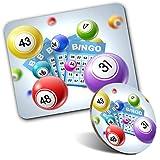 Juego de alfombrilla de ratón rectangular y posavasos redondos, juego de bingo Gran Auntie 20 cm y 9 cm para ordenador y portátil, oficina, regalo, base antideslizante #2124
