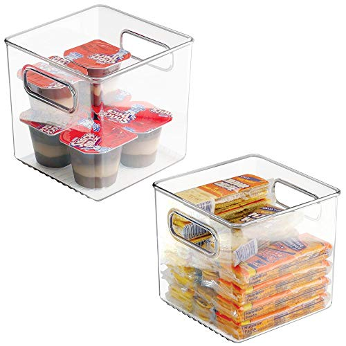 "mDesign Plastic Kitchen Pantry Cabinet, Refrigerator or Freezer Food Storage Bins with Handles - Organizer for Fruit, Yogurt, Snacks, Pasta - Food Safe, BPA Free, 6"" Cube - 2 Pack, Clear"