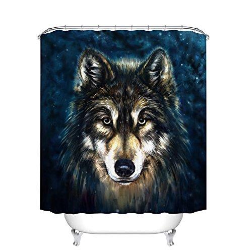 Fangkun Duschvorhang-Dekor-Set – künstlerisches Grafisches Design Wolf Beast Badvorhänge – Polyestergewebe wasserdicht Badezimmervorhänge – 12 Duschvorhänge – 183 x 183 cm