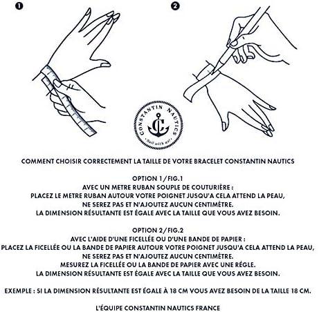 Fait /à la Main CONSTANTIN NAUTICS SAIL WITH US Bracelet Marin en Cordage Manille en Acier Inoxydable Argent