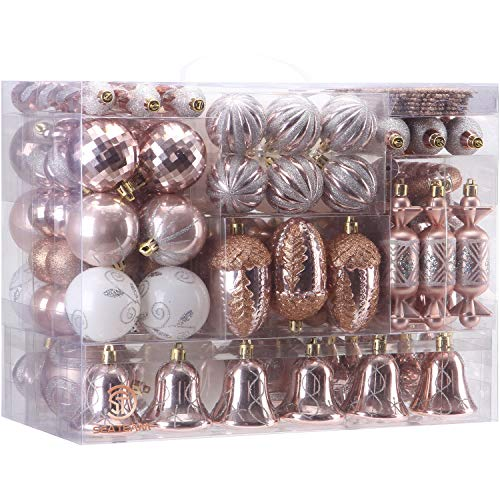 Sea Team 155-Pack Assorted Shatterproof Christmas Ball Ornaments Set Decorative Baubles Pendants with Reusable Hand-held Gift Package for Xmas Tree (Rose Gold, 155)