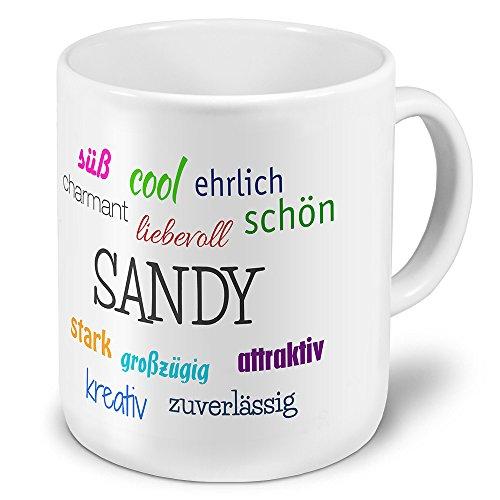 printplanet XXL Riesen-Tasse mit Namen Sandy - Positive Eigenschaften - Namenstasse, Kaffeebecher, Mug, Becher, Kaffeetasse