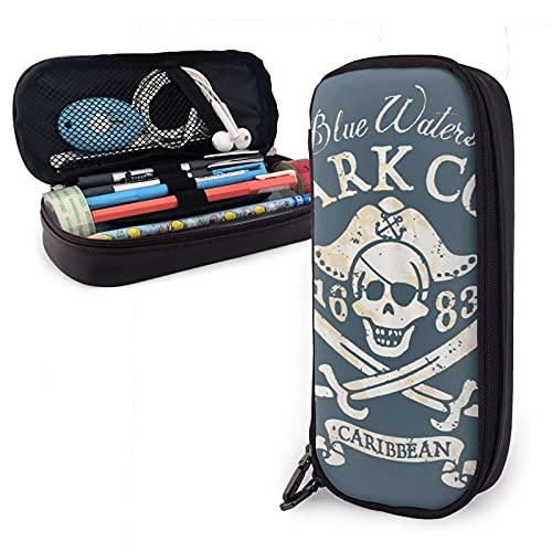 Jolly Roger - Astuccio in pelle per matite, cancelleria, ufficio, portatile, per cosmetici, ecc.