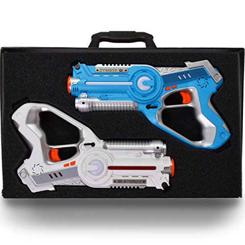 DYNASTY TOYS Family Games Laser Tag Set and Carrying Case - Blue/White Laser Tag Blasters for...
