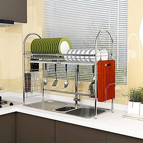 Rejilla para secar platos sobre el fregadero, rejilla para platos de acero inoxidable 304 con soporte para tabla de cortar y bandeja de goteo, soporte para utensilios, tabla de secado para cocina Co