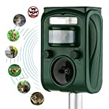 Ultrasonic Animal Repeller Solar Powered Repeller,Activated with Motion Ultrasonic and Flashing LED Lights Outdoor Waterproof Repeller for Dogs,Cats,Raccoon,Mice,Birds,Skunks,Etc.