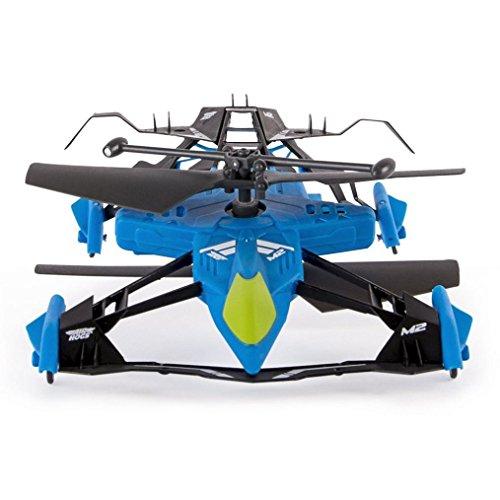 SUKEQ 2.4G 2.5CH 4 Axis Gyro Air Ground Drone RC Mini Variable Sports Car & Air Race RC Heli (Blue)